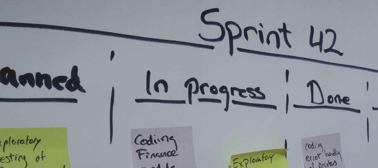 Whiteboard with Scrum Tasks On It