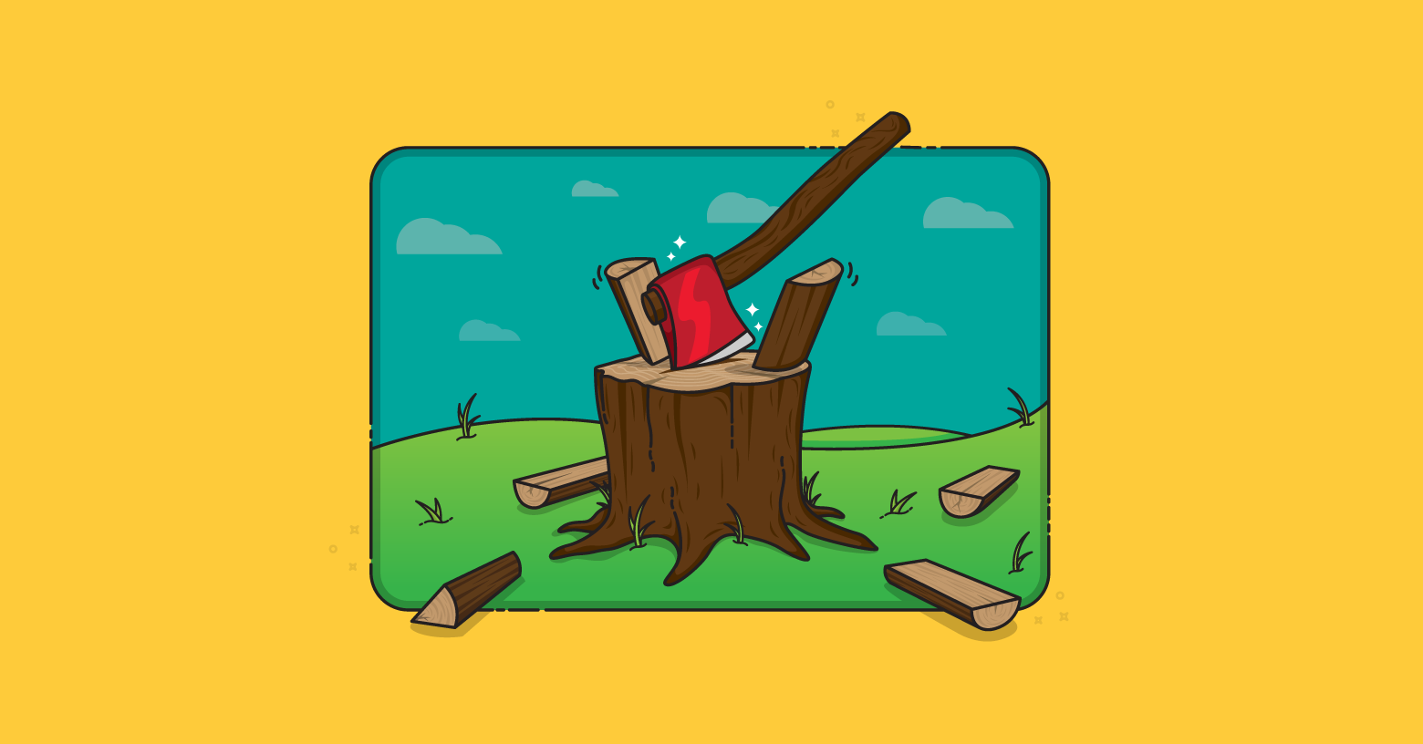 Ax splitting wood to illustrate splitting user stories.