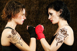 Female Boxers Facing Off