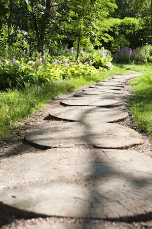 Garden Path Made of Round Stone Tiles