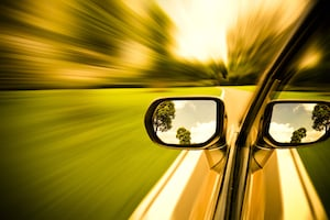 Car Sideview Mirror Reflection